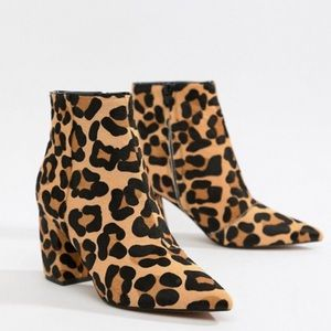 ASOS pony hair leopard leather booties